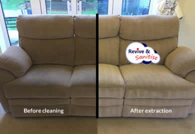 Image of sofa after cleaning by Revive and Sanitise hot water extraction method